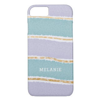 Purple Teal Gold Layers with name iPhone 8/7 Case
