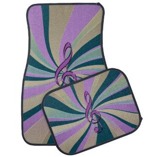 Purple Teal Gold Swirl Music Clef Car Mats Floor Mat