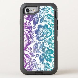 Purple & Teal Green Floral Design OtterBox Defender iPhone 7 Case