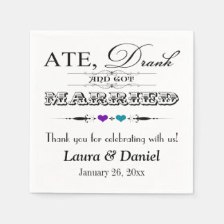 Purple, Teal Hearts, Scrolls Wedding Napkins Disposable Napkin