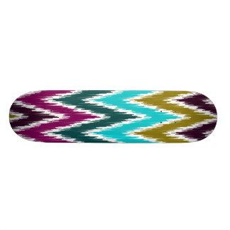 Purple Teal Ikat Chevron Zig Zag Stripes Pattern Skate Board