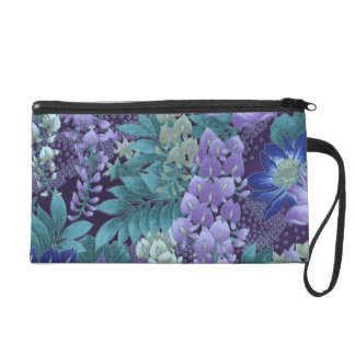 Purple & Teal Jungle Flowers Wristlet Clutch