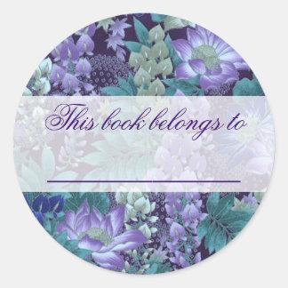 Purple & Teal Jungle Flowers Classic Round Sticker