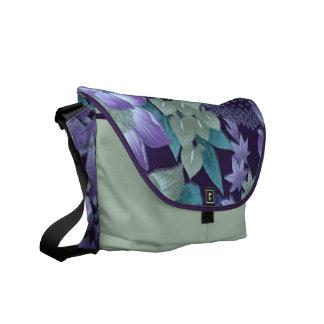 Purple & Teal Jungle Flowers Messenger Bags
