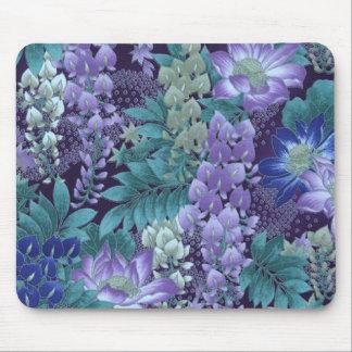 Purple & Teal Jungle Flowers Mouse Pad