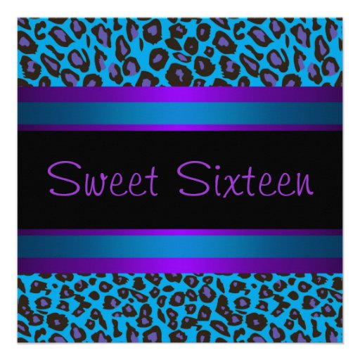 Purple Teal Leopard Sweet 16 Birthday Party Personalized Announcement
