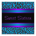 Purple Teal Leopard Sweet 16 Birthday Party Personalised Invite