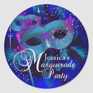 Purple & Teal Masks Masquerade Party Sticker