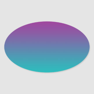 Purple & Teal Ombre Oval Sticker