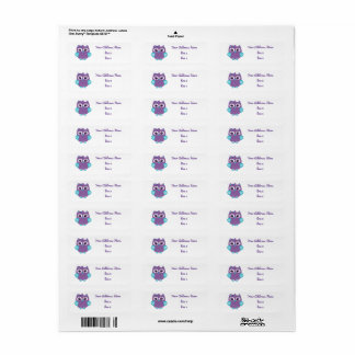 Purple Teal Owl Address Labels