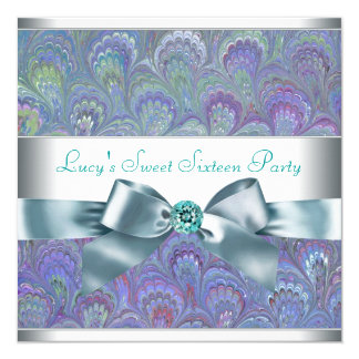 Purple Teal Peacock Paisley Birthday Party 13 Cm X 13 Cm Square Invitation Card