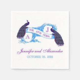 Purple Teal Peacock Wedding Paper Napkins