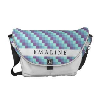 Purple Teal Pixel Pattern Messenger Bags