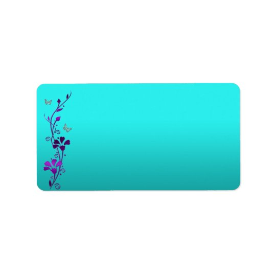 Purple Teal Silver PRINT-AT-HOME Address Label