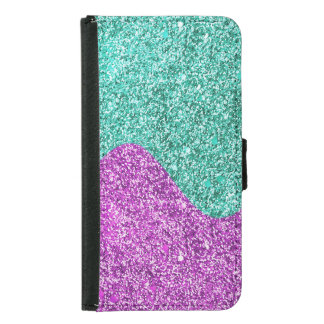 Purple & Teal Sparkle Effect Waves Galaxy S5 Samsung Galaxy S5 Wallet Case