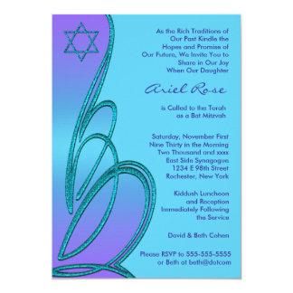 Purple Teal Star of David Bat Mitzvah 13 Cm X 18 Cm Invitation Card