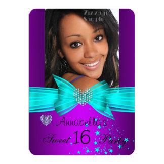 Purple Teal Sweet 16 Birthday Party Diamond Photo Personalized Invites