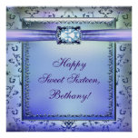 Purple Teal Sweet Sixteen Party Banner
