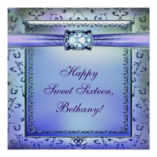 Purple Teal Sweet Sixteen Party Banner Poster