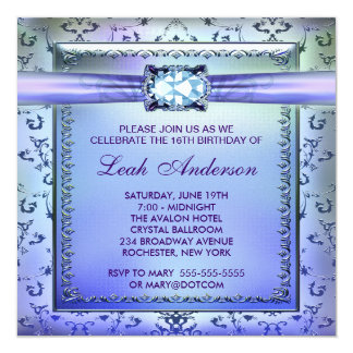 """Purple Teal Sweet Sixteen Party 5.25"""" Square Invitation Card"""