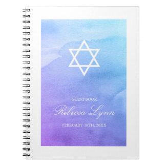 Purple Teal Watercolor Bat Mitzvah Guest Book Spiral Notebook