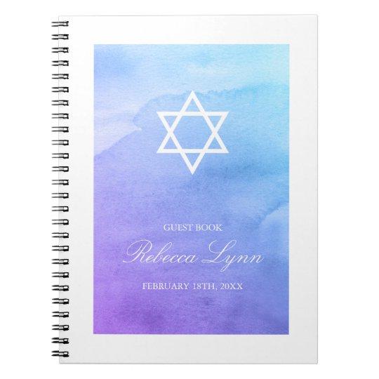 Purple Teal Watercolor Bat Mitzvah Guest Book Spiral