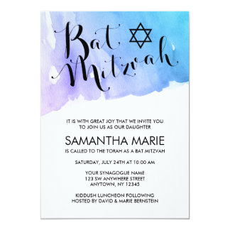 Purple Teal Watercolor Bat Mitzvah Invitations