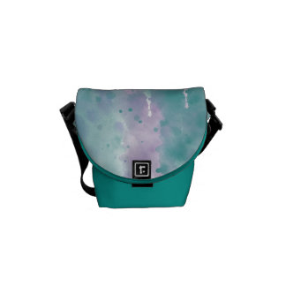 Purple Teal Watercolor Courier Bags