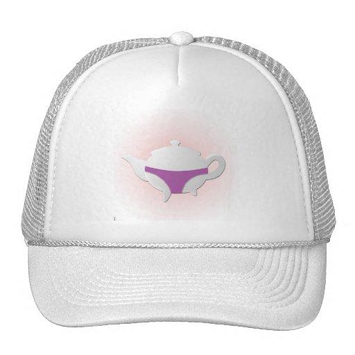 Purple teapot and lingerie hats