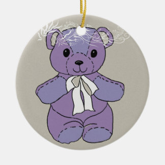 PURPLE TEDDY BEAR CHRISTMAS ORNAMENT