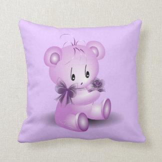 Purple Teddy Bear With Rose Cushion