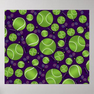 Purple tennis balls rackets and nets poster