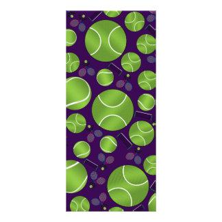 Purple tennis balls rackets and nets customized rack card