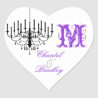 Purple Text Chandelier Monogram Custom Stickers
