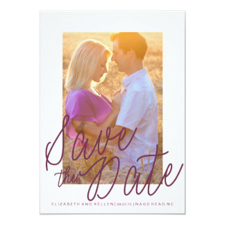 PURPLE TEXT SAVE THE DATE Save the Date Card 13 Cm X 18 Cm Invitation Card