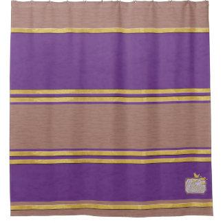 Purple Textured Gold Plain Shower Curtain