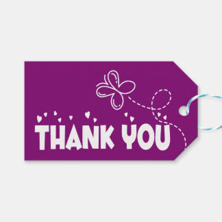 Purple Thank You Butterflies and Hearts Wedding Gift Tags