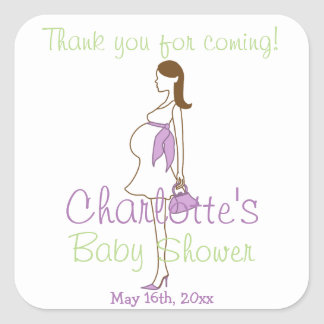 Purple Thank You For Coming Silhouette Baby Shower Square Sticker