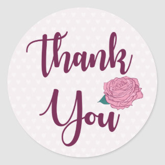 Purple Thank You Pink Rose Lavender Flowers Hearts Round Sticker