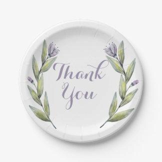 Purple Thank You Watercolor Flowers Leaves Laurel Paper Plate