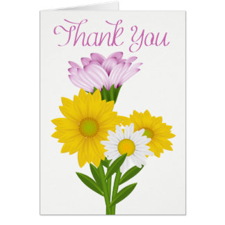 Purple Thank You Yellow Sunflowers & White Daisies Card