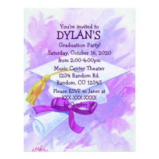 Purple theme graduation party flyer invitations