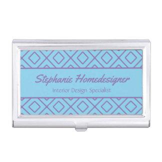 Purple Thin Line Diamond Pattern Business Card Holder