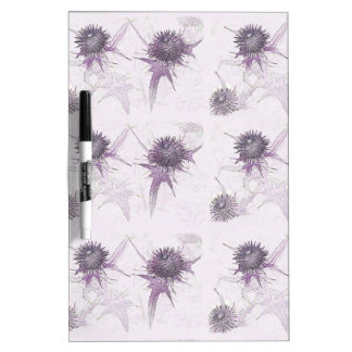 Purple thistle nature design dry erase board