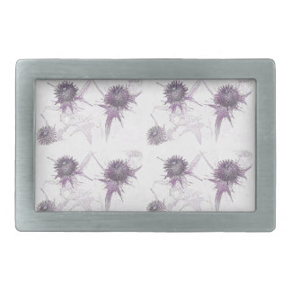 Purple thistle nature design rectangular belt buckles
