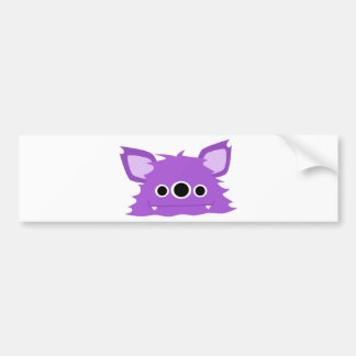 Purple Three Eyed Monster Bumper Sticker