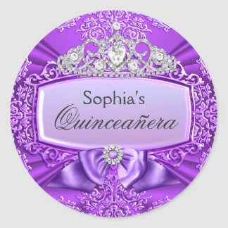 Purple Tiara & Damask Quinceanera Sticker