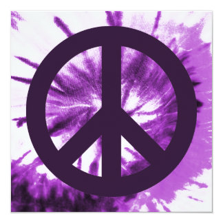 Purple Tie-Dye with Peace Symbol Card