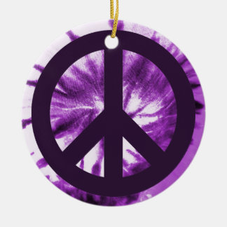 Purple Tie-Dye with Peace Symbol Christmas Ornament