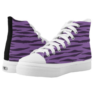 Purple Tiger high top tennis shoes Printed Shoes